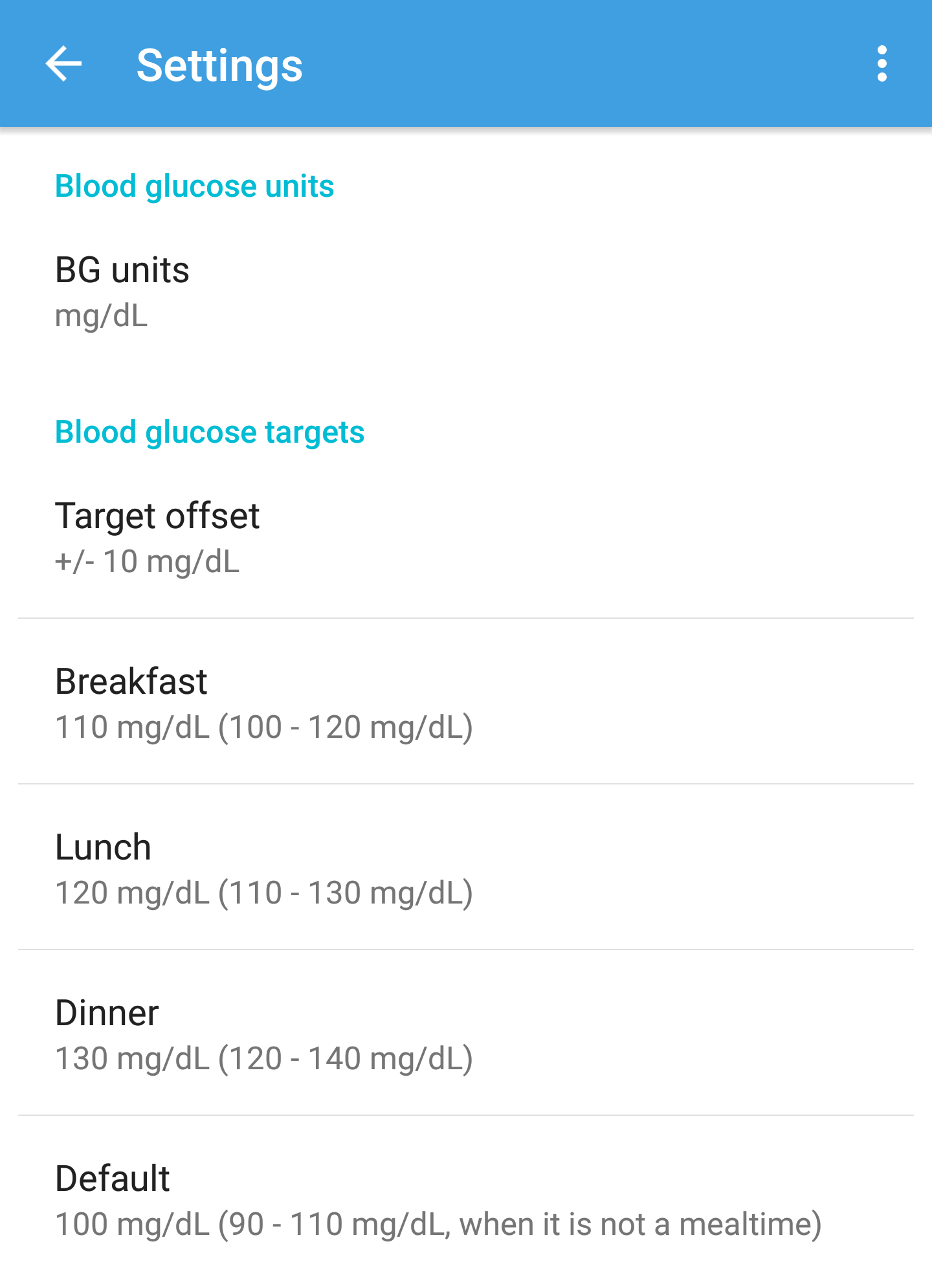 Blood glucose settings