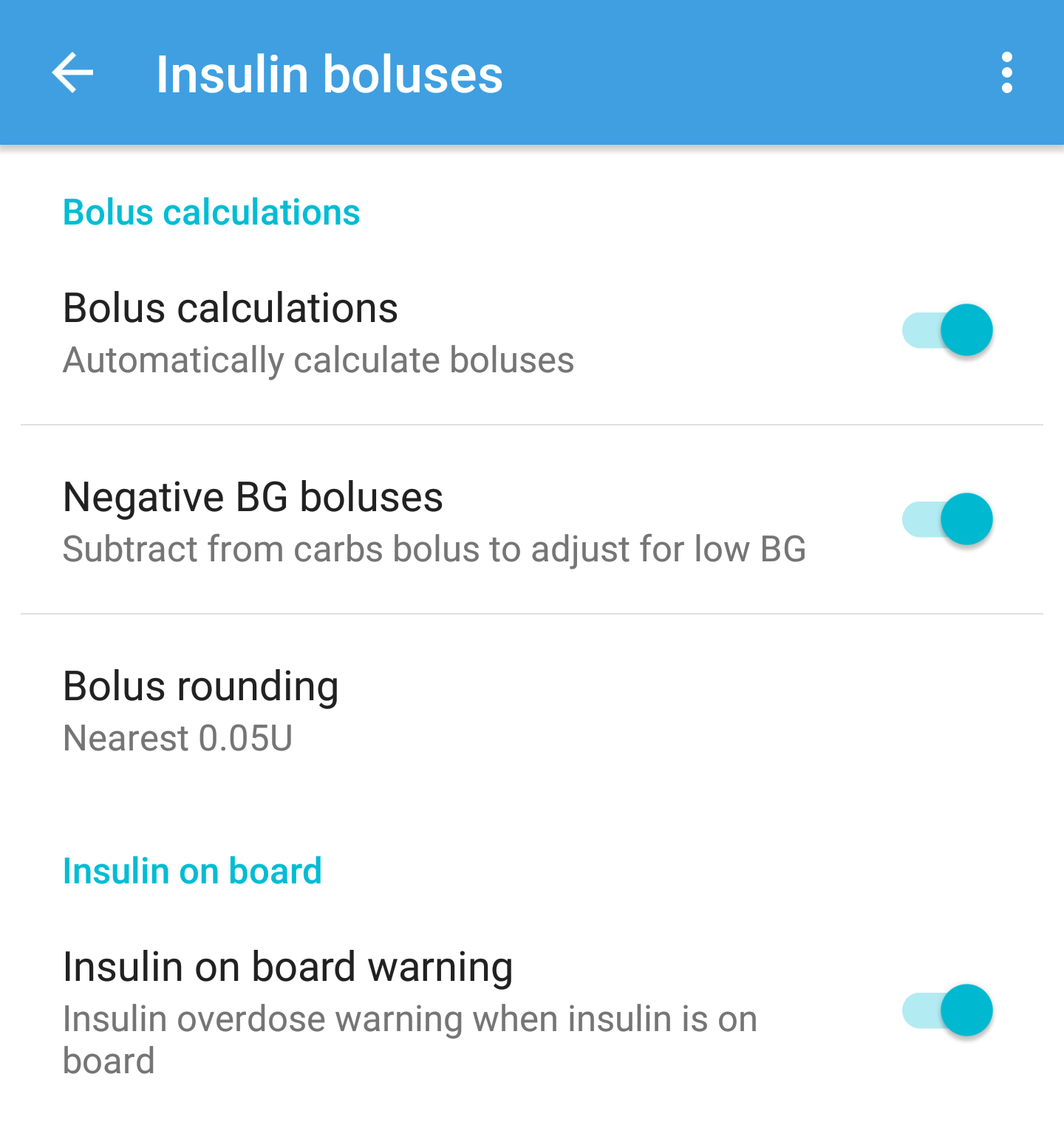 Bolus settings
